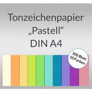 Tonzeichenpapier 130 g/qm DIN A4 - 100 Blatt in 10 Pastellfarben