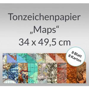 "Tonzeichenpapier ""Maps"" 34 x 49,5 cm - 8 Blatt sortiert"