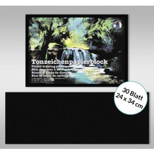 Tonzeichenpapierblock 130 g/qm 24 x 34 cm - 30 Blatt schwarz