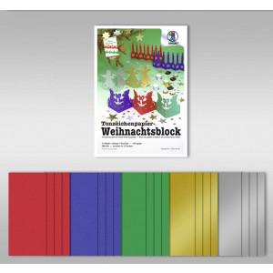 """Tonzeichenpapierblock """"Weihnachten"""" 130 g/qm DIN A4 - 20 Blatt in 5 Farben"""