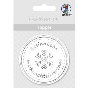 """Topper """"Besinnliche Weihnachtsfeiertage"""" weiß/silber - Motiv 13"""