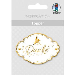 "Topper ""Danke 1"" weiß/gold - Motiv 16"