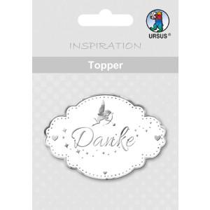 "Topper ""Danke 1"" weiß/silber - Motiv 16"