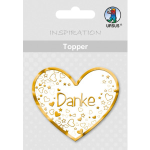 "Topper ""Danke 2"" weiß/gold - Motiv 19"