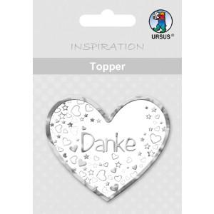 "Topper ""Danke 2"" weiß/silber - Motiv 19"