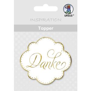 "Topper ""Danke"" weiß/gold - Motiv 11"