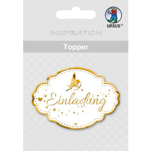 """Topper """"Einladung 1"""" weiß/gold - Motiv 14"""