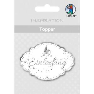 """Topper """"Einladung 1"""" weiß/silber - Motiv 14"""