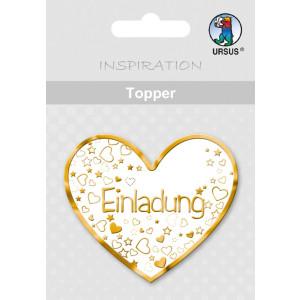 """Topper """"Einladung 2"""" weiß/gold - Motiv 17"""
