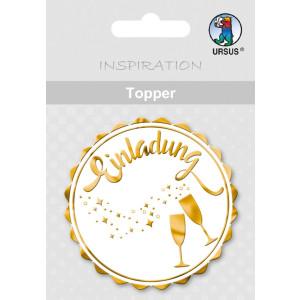 """Topper """"Einladung 2"""" weiß/gold - Motiv 27"""
