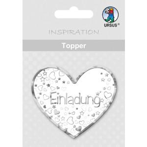 """Topper """"Einladung 2"""" weiß/silber - Motiv 17"""