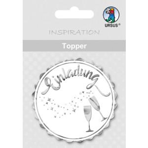 """Topper """"Einladung 2"""" weiß/silber - Motiv 27"""