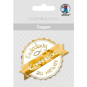 """Topper """"Einladung zu meiner Kommunion"""" weiß/gold - Motiv 24"""