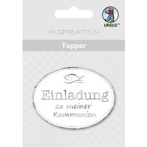 """Topper """"Einladung zu meiner Kommunion"""" weiß/silber - Motiv 09"""