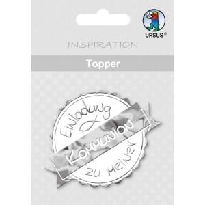 """Topper """"Einladung zu meiner Kommunion"""" weiß/silber - Motiv 24"""