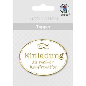 """Topper """"Einladung zu meiner Konfirmation"""" weiß/gold - Motiv 08"""