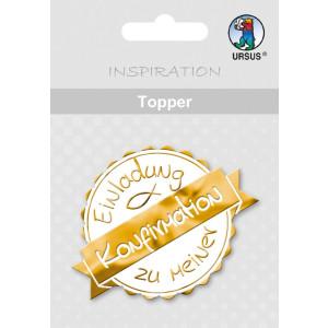 """Topper """"Einladung zu meiner Konfirmation"""" weiß/gold - Motiv 23"""