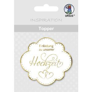 """Topper """"Einladung zu unserer Hochzeit"""" weiß/gold - Motiv 06"""