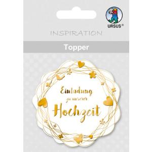 """Topper """"Einladung zu unserer Hochzeit"""" weiß/gold - Motiv 20"""
