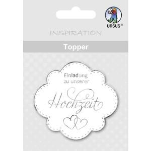 """Topper """"Einladung zu unserer Hochzeit"""" weiß/silber - Motiv 06"""