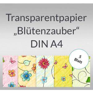 """Transparentpapier """"Blütenzauber"""" DIN A4 - 5 Blatt"""