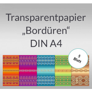 "Transparentpapier ""Bordüren"" DIN A4 - 5 Blatt"