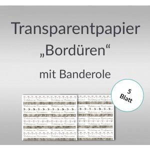 "Transparentpapier ""Bordüren"" silber DIN A4 - 5 Blatt"