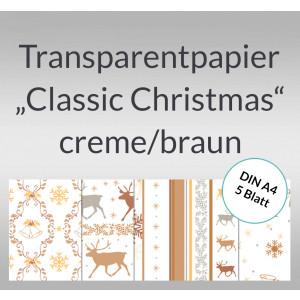 "Transparentpapier ""Classic Christmas"" creme/braun DIN A4 - 5 Blatt"