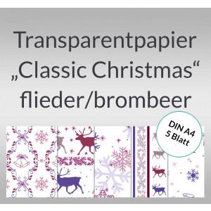 """Transparentpapier """"Classic Christmas"""" flieder/brombeer DIN A4 - 5 Blatt"""