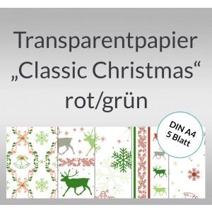 """Transparentpapier """"Classic Christmas"""" rot/grün DIN A4 - 5 Blatt"""