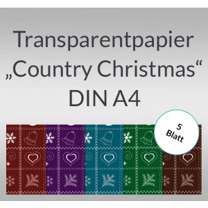 "Transparentpapier ""Country Christmas"" DIN A4 - 5 Blatt"
