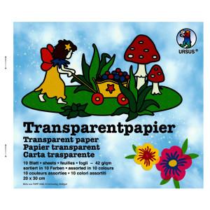 Transparentpapier (Drachenpapier) 42 g/qm 14 x 20 cm - 10 Blatt sortiert