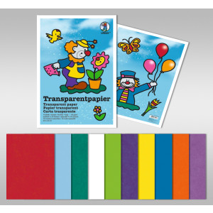 Transparentpapier (Drachenpapier) 42 g/qm 35 x 50 cm - 25 Blatt in 10 Farben