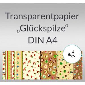 """Transparentpapier """"Glückspilze"""" DIN A4 - 5 Blatt"""