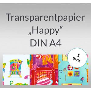 "Transparentpapier ""Happy"" DIN A4 - 5 Blatt"