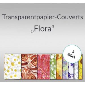 """Transparentpapier-Kuverts """"Flora"""" 115 g/qm - 5 Stück sortiert"""
