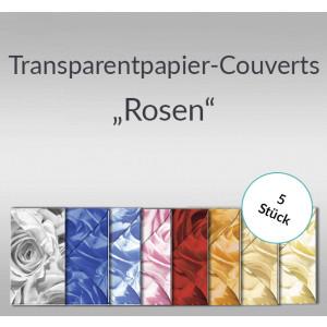 """Transparentpapier-Kuverts """"Rosen"""" 115 g/qm - 5 Stück sortiert"""