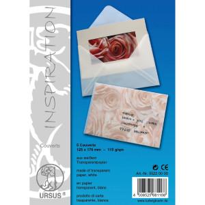 "Transparentpapier-Kuverts ""Uni"" 115 g/qm 86 x 128 mm - 5 Stück"