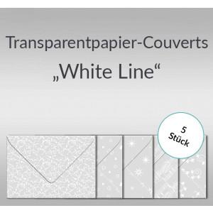 """Transparentpapier-Kuverts """"White Line"""" 115 g/qm - 5 Stück sortiert"""