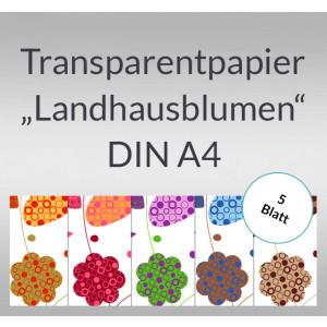 """Transparentpapier """"Landhausblumen"""" DIN A4 - 5 Blatt"""