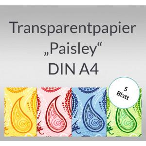 """Transparentpapier """"Paisley"""" DIN A4 - 5 Blatt"""
