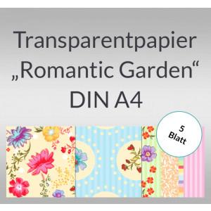 """Transparentpapier """"Romantic Garden"""" DIN A4 - 5 Blatt"""