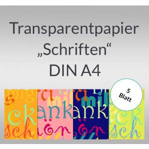 """Transparentpapier """"Schriften"""" DIN A4 - 5 Blatt"""