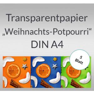 """Transparentpapier """"Weihnachts-Potpourri"""" DIN A4 - 5 Blatt"""