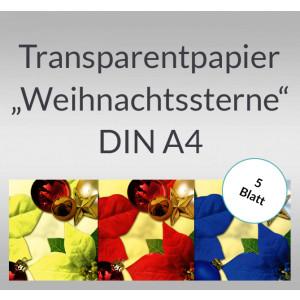 """Transparentpapier """"Weihnachtssterne"""" DIN A4 - 5 Blatt"""