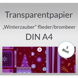 "Transparentpapier ""Winterzauber"" flieder/brombeer DIN A4 - 5 Blatt"