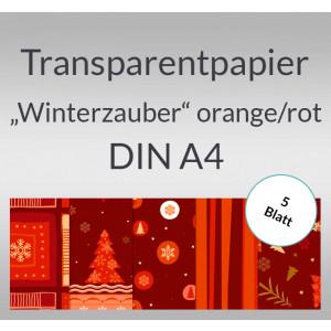 "Transparentpapier ""Winterzauber"" orange/rot DIN A4 - 5 Blatt"