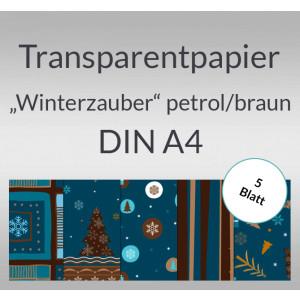 """Transparentpapier """"Winterzauber"""" petrol/braun DIN A4 - 5 Blatt"""