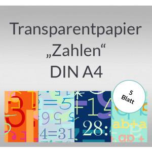 """Transparentpapier """"Zahlen"""" DIN A4 - 5 Blatt"""