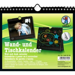 Wand- und Tischkalender 14 x 16,5 cm, schwarz
